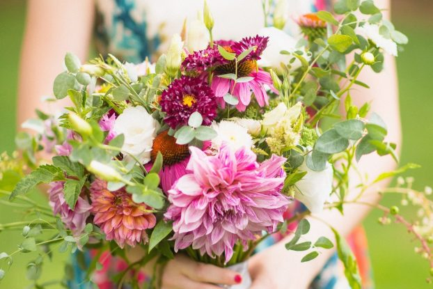 Local flowers grown and designed by Kelly Morrison, co-founder of Piedmont Wholesale Flowers. (c) Kissick Weddings